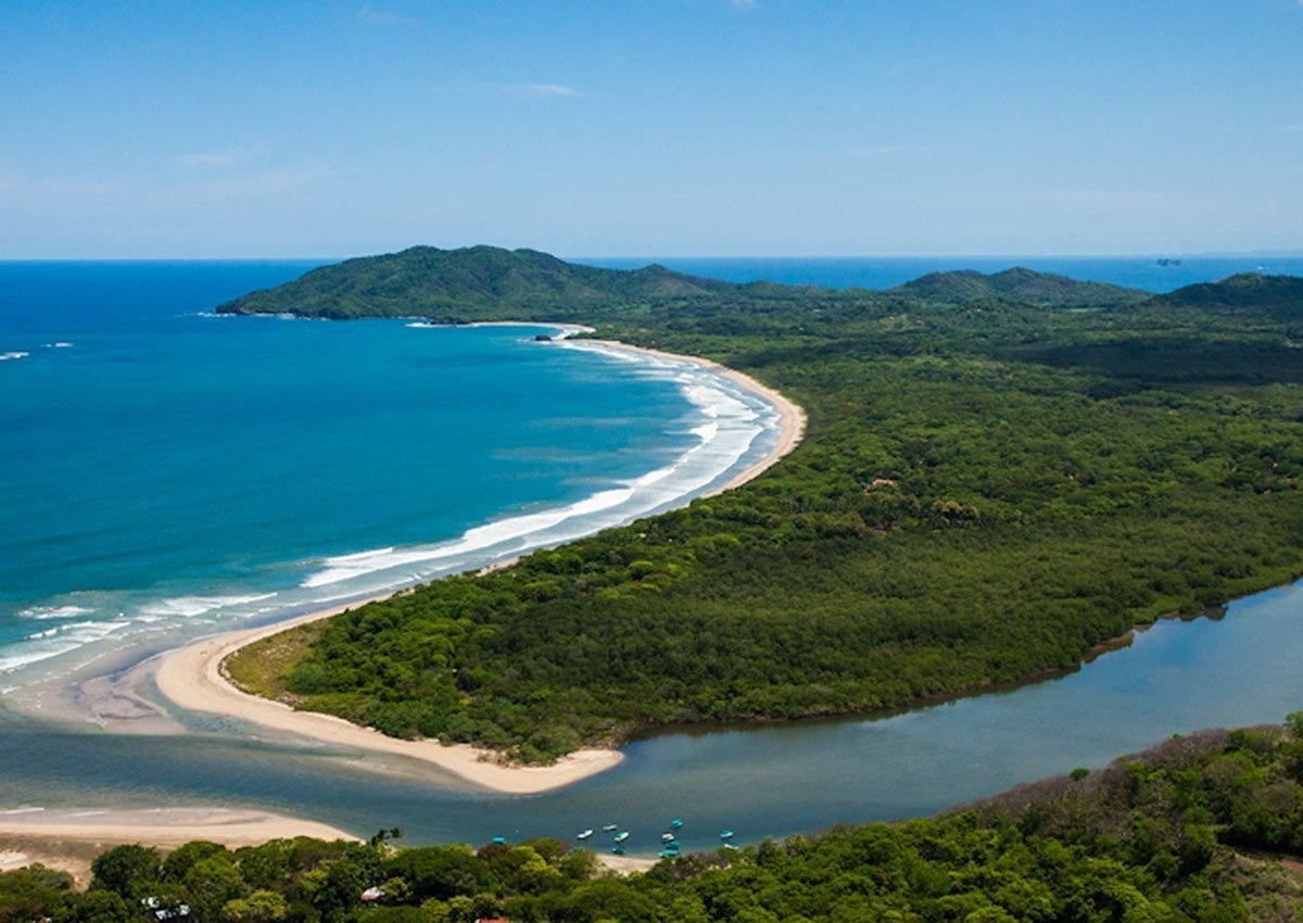 Aerial view of Tamarindo estaury and Playa Grande.